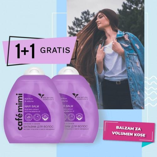 Balzam za negu i volumen kose sa ekstraktom Acai bobica i uljem makadamije Café Mimi 250ml 1+1 GRATIS